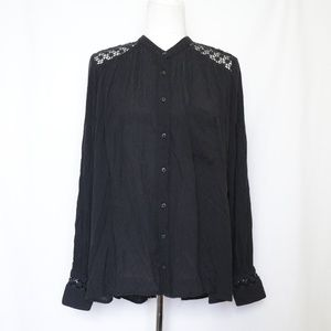 Free People Black Boho Long Sleeve Button Top M